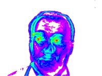 Color-parameter facial vibraimage showing 'amplitude' of pixel vibration.